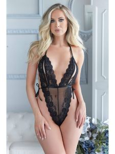 S/M LACE OPEN CUP TEDDY BLK